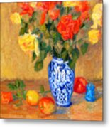 Roses In A Mexican Vase Metal Print