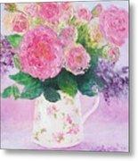 Roses In A Pink Floral Jug Metal Print