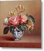 Roses In China Vase Metal Print