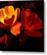 Roses In Molten Gold Art Metal Print