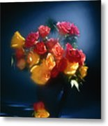 Roses In The Blue Metal Print