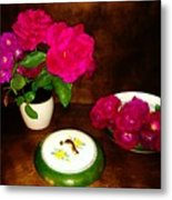 Roses In Vase And Bowl Metal Print