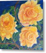 Roses In Yellow Metal Print