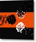 Roses Interact With Orange Metal Print
