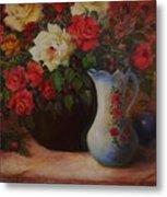 Roses N'blue Metal Print