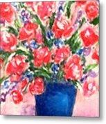 Roses On Blue Vase Metal Print