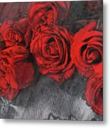Roses On Lace Metal Print