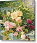 Roses On The Bench  Metal Print