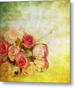 Roses Pattern Retro Design Metal Print