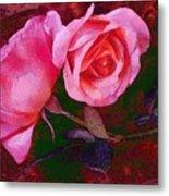 Roses Silked Pink Vegged Out Metal Print
