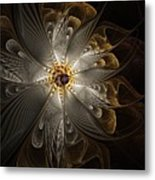 Rosette In Gold And Silver Metal Print
