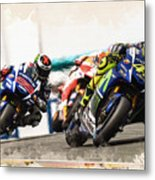 Rossi Leading The Pack Metal Print