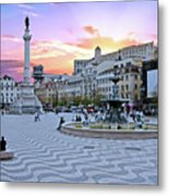 Rossio Square In Lisbon Portugal At Sunset Metal Print