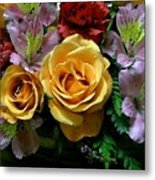 Rosy Bouquet Watercolor Metal Print