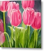 Rosy Pink Tulips Metal Print by Sharon Freeman