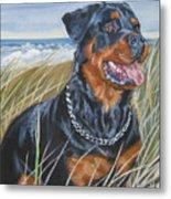 Rottweiler Beach Metal Print