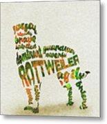 Rottweiler Dog Watercolor Painting / Typographic Art Metal Print