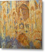 Rouen Cathedral, Facade, Sunset Metal Print