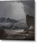 Rough Sea With A Steamer Near The Coast Of Norway Metal Print