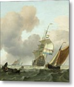 Rough Sea With Ships Metal Print