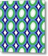 Round And Round Blue And Green- Art By Linda Woods Metal Print