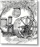 Round Fairy House And Waterwheet Metal Print