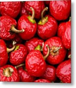 Round Red Peppers Metal Print