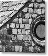 Round Window - Black And White Metal Print