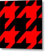 Rounded Houndstooth Black Background 02-p0123 Metal Print