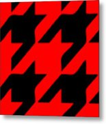 Rounded Houndstooth Black Pattern 02-p0123 Metal Print