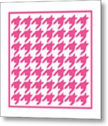 Rounded Houndstooth With Border In French Pink Metal Print