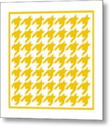 Rounded Houndstooth With Border In Mustard Metal Print