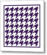 Rounded Houndstooth With Border In Purple Metal Print