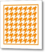 Rounded Houndstooth With Border In Tangerine Metal Print