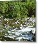 Rounded Rocks In A Rushing River Metal Print