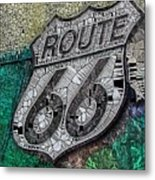 Route 66 Digital Stained Glass Metal Print