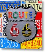 Route 66 Highway Road Sign License Plate Art Metal Print by Design Turnpike