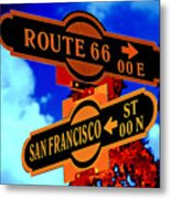 Route 66 Street Sign Stylized Colors Metal Print