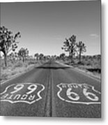 Route 66 With Joshua Trees In Black And White Metal Print