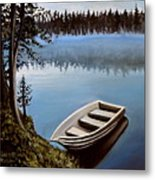 Row Boat In The Fog Metal Print