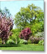 Row Of Flowering Trees Metal Print