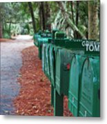 Row Of Green Mailboxes7426 Metal Print