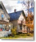 Row Of Houses Hardwick Vermont Watercolor Metal Print