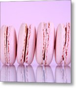 Row Of Pink Macaron Cookies Metal Print