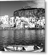 Rowboat Along An Idyllic Sicilian Village. Metal Print