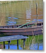 Rowboat And Blue Reflections Metal Print