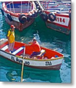 Rowboat In The Harbor At Port Of Valpaparaiso-chile Metal Print