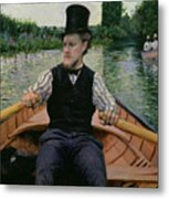 Rower In A Top Hat Metal Print by Gustave Caillebotte