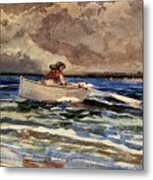 Rowing At Prouts Neck Metal Print