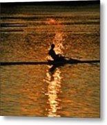 Rowing At Sunset 3 Metal Print